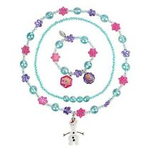 Disney Store FROZEN Elsa Anna Olaf Snowman Jewelry Necklace & Bracelet 3pc Set