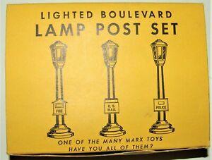 POSTWAR MARX LAMPOST SET 073 & BOX C-9 UNUSED LATE 1950'S  SUPER SQUARE BOX