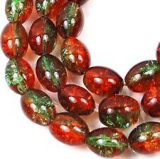"""8x6mm Czech Glass Crackle Cracked Barrel Rice Beads - Green / Amber (50) 16"""""""