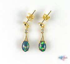Genuine Australian Gold Opal Earrings 7x5mm w CZ 925 Sterling Silver Dangle Drop