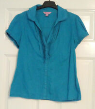 Monsoon Ladies Cotton Short Sleeve Blue Button Shirt Blouse UK Size 10 Workwear