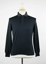 New. ZEGNA SPORT Oxford Blue Cotton Polo Sweater Size Small $285
