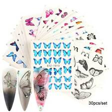 30Pcs 3D Butterfly Nail Foil Sticker Blue Black Water Transfer Manicure