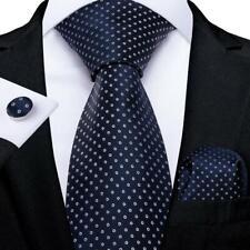 USA Classic Blue Polka Dots Silk Necktie Mens Tie Set Woven Hanky Cufflinks