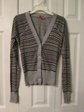 H & M Divided Women's Gray Black Geometric Button Down V-Neck Cardigan, Size 4