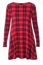Women Ladies Long Sleeve Swing Dress Flared A Line Skater Dress Top Size 8-26 UK