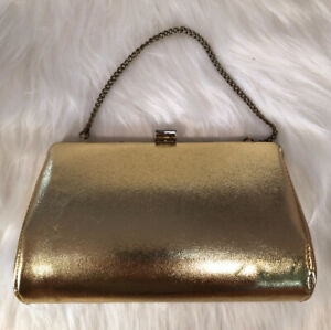 "VINTAGE Gold Metallic Shiny Clutch Evening Purse Bag Chain Strap 8"" x 4.5"""