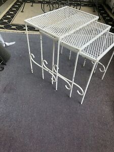 Set of 3 Mid-Century Wrought Iron Mesh Nesting  Tables Vintage