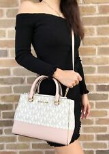 Michael Kors Kellen XS Satchel Vanilla MK Signature Ballet Pink Crossbody Bag