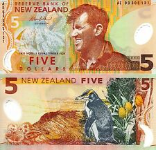 NEW ZEALAND 5 Dollars Banknote World Money Currency Polymer BILL Pick p185b Note