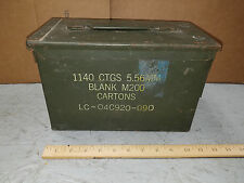 Vintage ?  Metal Ammo Box Can 1140 Cartridges 5.56MM BLANK M200 EMPTY METAL BOX