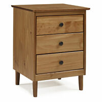 3-Drawer Solid Wood Nightstand - Caramel