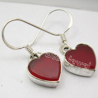"RED CARNELIAN Gemstone HEART Earrings 1.1"" Drop Dangle 925 Solid Silver Jewelry"