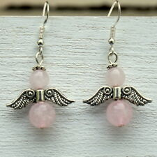 Angel Earrings Rose Quartz Gemstone with Sterling Silver Hooks New Drops LB138