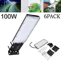 6X 100W Cool White IP67 LED Road Street Light Flood Lamp Parking Lots Outdoor AD