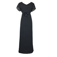 Liz Claiborne Polka Dot Maxi Dress Size 12 Black Polyester Lined Short Sleeve