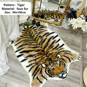 Tiger Print Rug Faux Animal Cow Hide Cute Floor Mat Non Slip Carpet 90x110CM