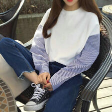 Women Korean Style Cotton Loose Long Sleeve Striped T-shirt Casual Blouse Top US