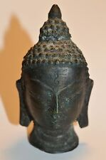 Antique Buddha Head Bronze Statue 3 Inches Hollow