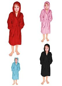 Girls Dressing Gown Soft Comfy Hooded Bathrobe for Girls Terry Towelling Robe
