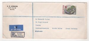 1972 BERMUDA Registered Air Mail Cover DEVONSHIRE to CONWAY WALES GB Flowers