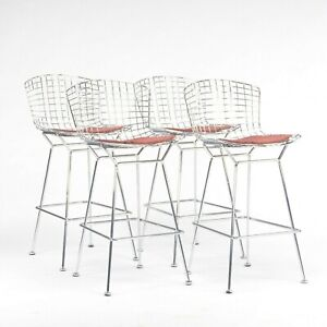 Harry Bertoia for Knoll Wire Chrome Bar Stools with Eames Dot Fabric Seat Pads