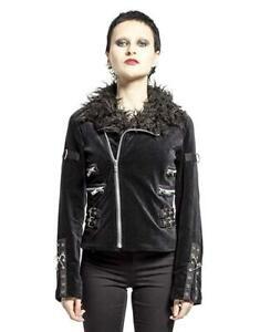 Tripp NYC (LARGE) Gothic Punk Faux Fur Metal Velvet Moto Band Jacket SV3086
