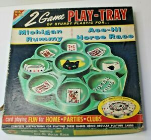 Vintage Transogram 2 Game Play Tray Michigan Rummy & Ace-Hi Horse Race 1959 Game