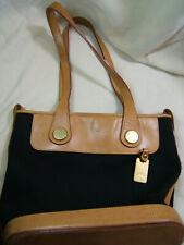 Black Canvas Dooney Bourke Shoulder Bag Tote Purse Tan Leather Trim