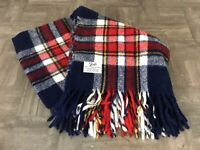 Vtg. FARIBO Wool Tartan Plaid Red White Blue Stadium Blanket Lap Throw Fringed