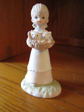 """Lefton Figurine Girl With Basket Of Kittens #Twp03463 5"""" Tall 1982 Excellent"""