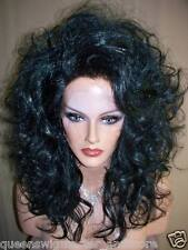 Drag Queen Wig New Lace Front in Black Shoulder Length Teased Out