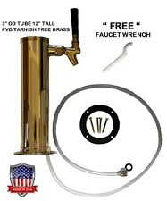 """1 Faucet Polished Brass 3"""" Od Pvd Tarnish Free Brass Draft Beer Tower -D4743Tbr-"""