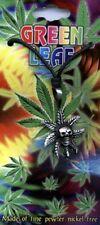 Cannabis leaf & Skull Pewter Pendant + cord thong Marley Rastafarian Jewellery