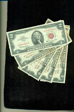 Bulk Lot Of 5 COUNT 1963 $2 BILLS IN CIRCULATED COND