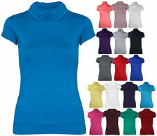 Womens Short Cap Sleeves Ladies Turtle Polo Neck Stretch T-Shirt Top Plus Size