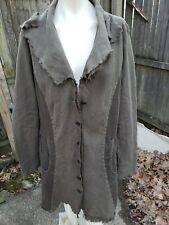 Cynthia Ashby 100% Linen 2 Tone Loden Green Lagenlook Duster Jacket Sz L