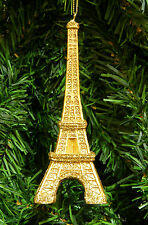 "DELUXE 5.25"" GOLD RESIN EIFFEL TOWER CHRISTMAS ORNAMENT w/GOLD GLITTER DETAILING"