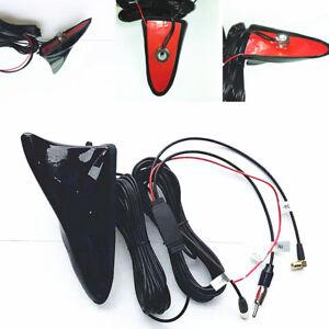 Universal Black AM/FM Shark Fin Car Radio Antenna Stereo Signal Aerial w/Cable