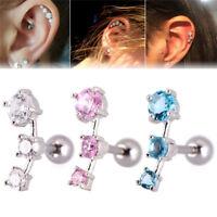 Cubic Zirconia Steel Barbell Ear Tragus Cartilage Helix Stud Earring Piercing LJ
