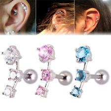 Cubic Zirconia Steel Barbell Ear Tragus Cartilage Helix Stud Earrings PiercingNT