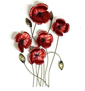 Red Poppy Flowers Metal Hanging Wall Art Home Garden Sculpture Décor BIG 60 cm