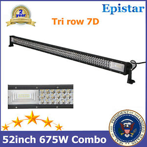 52''in 675W Tri row 7D+ LED Light Bar 12V 24V Chevrolet GMC Truck TOP 288W/300W