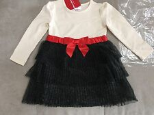 NWT $55 Hanna Andersson 90 Red White Black Dress With Bow Size 3T #2