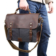 "Vintage Men Leather Canvas Shoulder Bag 14"" Laptop Satchel Work Office Briefcase"