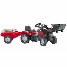 FALK Jouet Tracteur avec Pelle et Remorque Rouge pour Enfants Véhicule Jouet