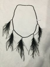 NWT $58 Free People Glitz & Glam Bead Feather Necklace Black Sequin Gatsby Jazz