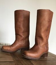 FRYE CAMPUS WOMENS LEATHER KNEE HIGH BOOTS 14L SADDLE COWBOY UK 5.5 US 7.5M