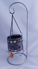 Metal Hanging Bejewelled Tealight Candle Holder