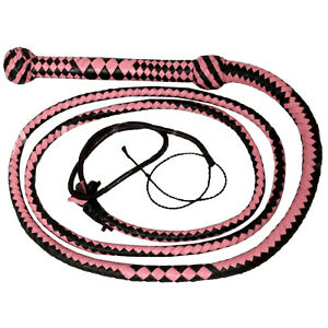 Real Leather 8 Feet 12 Plait INDIANA JONE STYLE Equestrian Farming Pink &Black